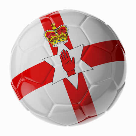 northern: Football soccer ball with flag of Northern Ireland. 3D render