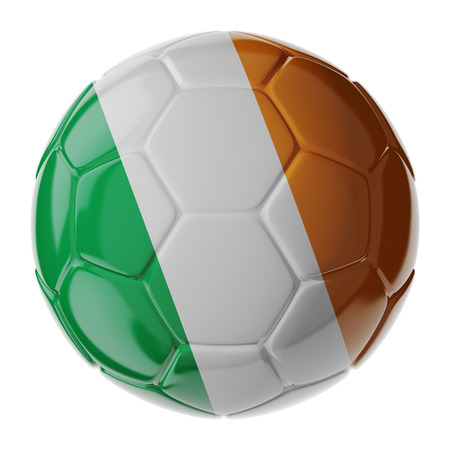 republic of ireland: Football soccer ball with flag of Ireland republic. 3D render Stock Photo
