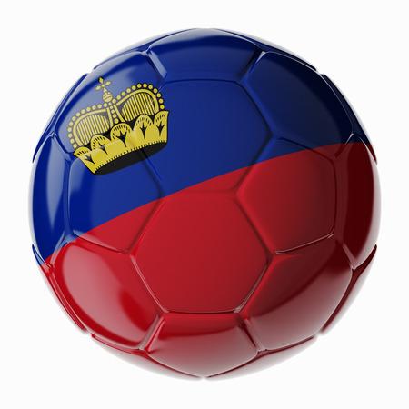 liechtenstein: Football soccer ball with flag of Liechtenstein. 3D render Stock Photo