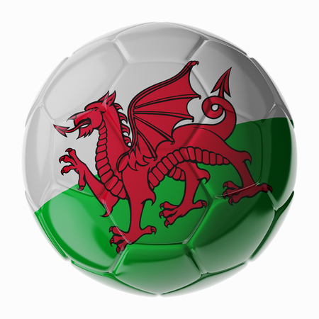 wales: Football soccer ball with flag of Wales. 3D render