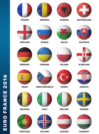 poland flag: Europe football 2016. Set of soccer balls with flags. 3D render