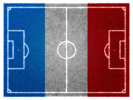 grassy: 3d FootballSoccer grassy field. France EURO 2016 Stock Photo