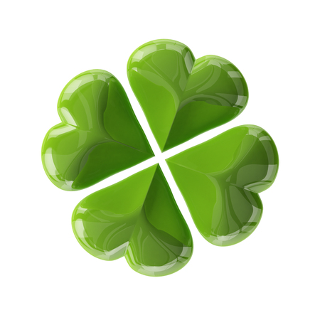 fourleaf: 3d glass leaf clover for your St.Patricks Day design