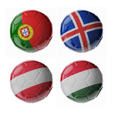 Set von 3D Fußball-Bälle mit Flaggen Standard-Bild - 54727761