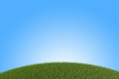 Grüne Wiese gegen den blauen Himmel. 3D übertragen Standard-Bild - 54727762