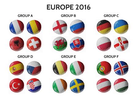 pelota de futbol: Europa de f�tbol 2016. Conjunto de pelotas de f�tbol con banderas. 3D rinden Foto de archivo