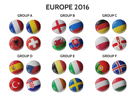 ball: Europe football 2016. Set of soccer balls with flags. 3D render