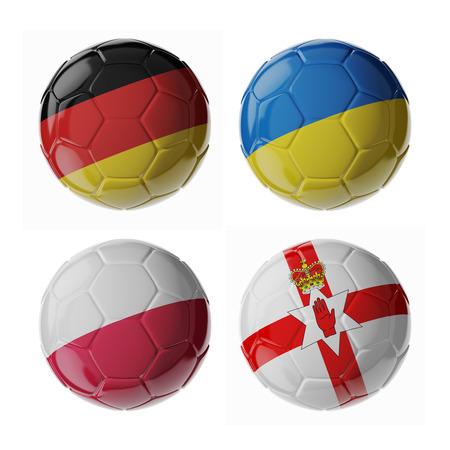 Set von 3D Fußball-Bälle mit Flaggen Standard-Bild - 54727774