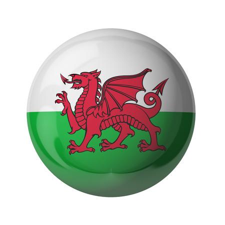 3D-Flagge von Wales isoliert auf weiß Standard-Bild - 54727784