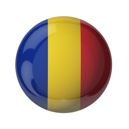 3D-Flagge von Rumänien auf weiß isoliert Standard-Bild - 54727798