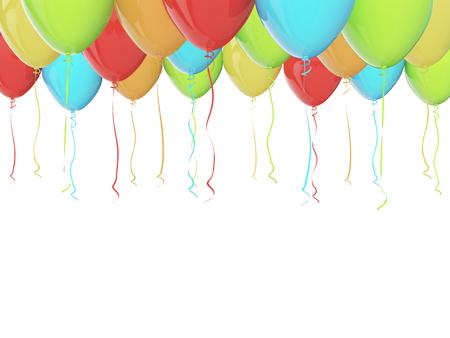 Bunte Luftballons isoliert auf weiß. 3D Standard-Bild - 54727804