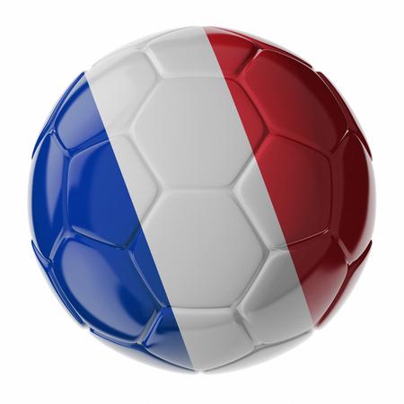 Fußball / Fußball mit Flagge von Frankreich. 3D übertragen Standard-Bild - 54727805