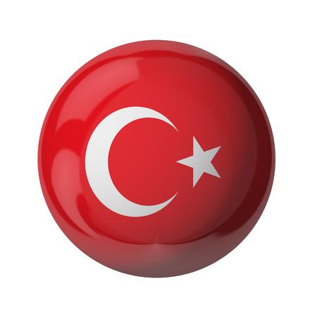 3D Flagge der Türkei isoliert auf weiß Standard-Bild - 54727838