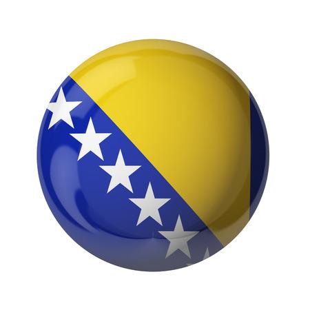 3D-Flagge von Bosnien und Herzegowina auf weiß isoliert Standard-Bild - 54727845
