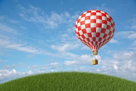 Red-white Hot Air Balloon in the blue cloudy sky. 3D render Standard-Bild
