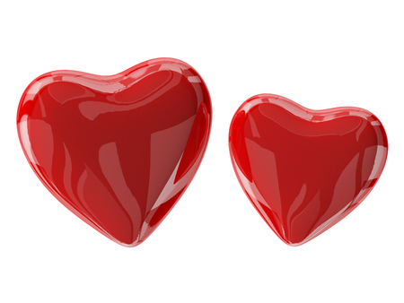 Two glass red valentine's hearts isolated on white. 3d render with HDR