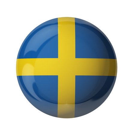 3D flag of Sweden isolated on white