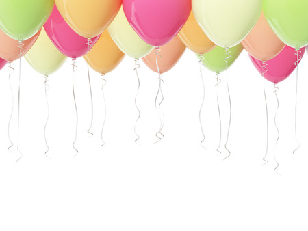 Multicolored balloons isolated on white. 3D render
