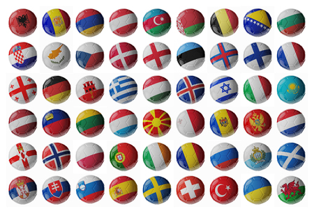 Europe football. Set of soccer balls with flags. 3D render