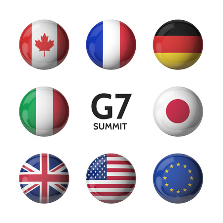 G7 summit. 3D flags isolated on white