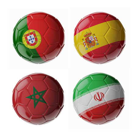 Set of 3d soccer balls with flags. 2018. Group B
