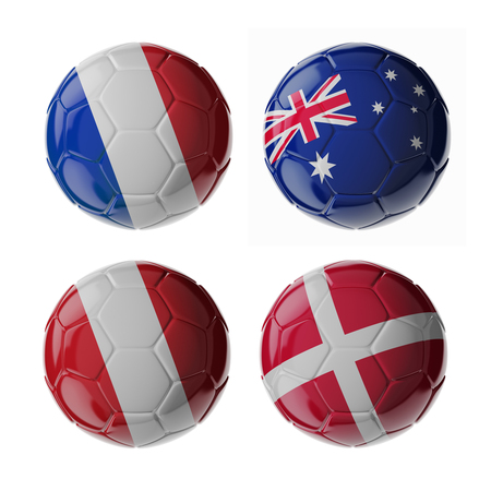 Set of 3d soccer balls with flags. 2018. Group C