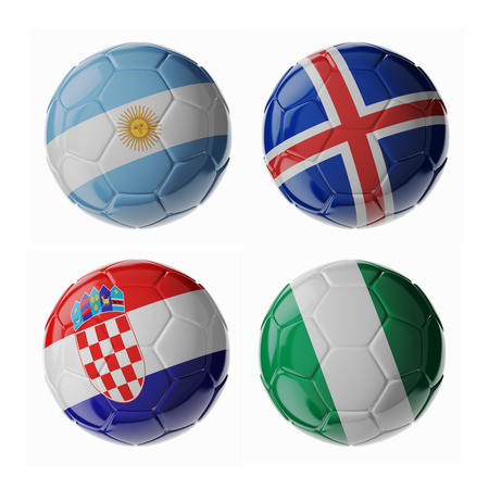 Set of 3d soccer balls with flags. 2018. Group D 写真素材
