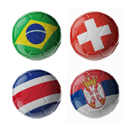 Set of 3d soccer balls with flags. 2018. Group E 写真素材