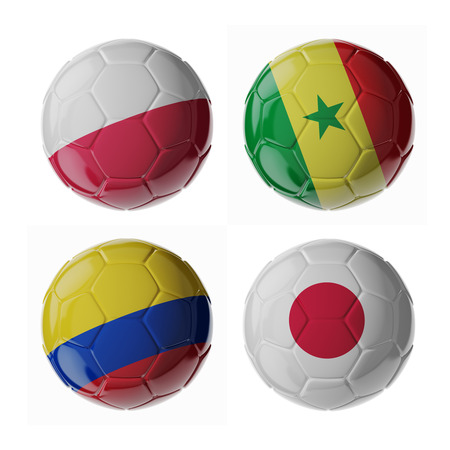 Set of 3d soccer balls with flags. 2018. Group H 写真素材