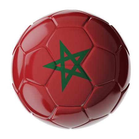 Football/soccer ball with flag of Morocco. 3D render