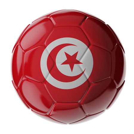 Footballsoccer ball with flag of Tunisia. 3D render