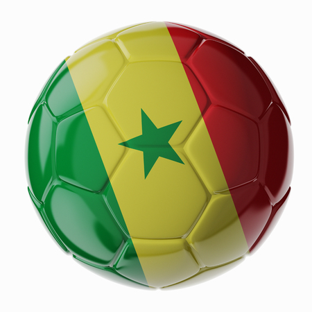 Football/soccer ball with flag of Senegal. 3D render Standard-Bild - 100210861