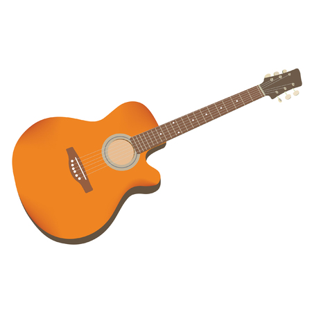 Guitar Acoustic, isolated in white background.