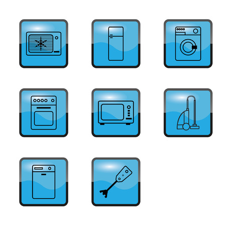 Vector illustration blue Kitchen Home appliances Vector