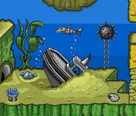 oceanside: Vector pixelart for web and design Illustration