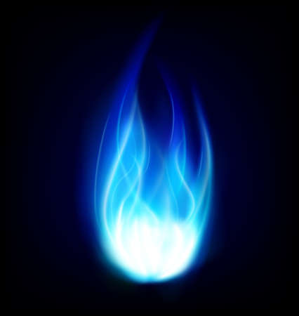 black smoke: Blue isolated fire Illustration
