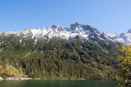 morskie: Beautiful Morskie Oko green water alpine lake on sunny day, Tatry Mountains , Poland