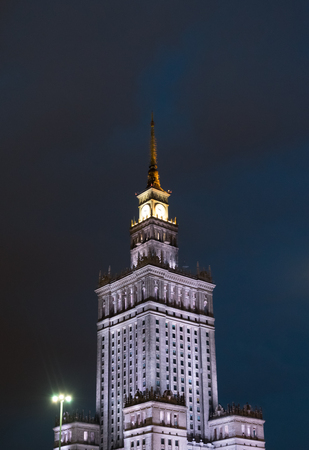 Palace of Culture and Science in Warsaw, Poland an night