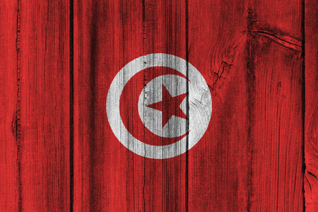 Tunisia  flag painted on wooden wall for background.