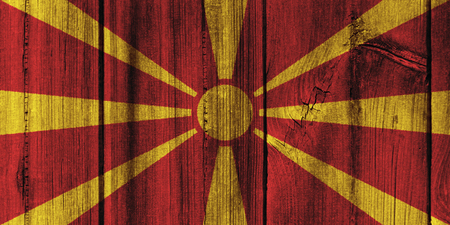Macedonia  flag painted on wooden wall for background. Stock Photo