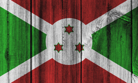 Burundi  flag painted on wooden wall for background.