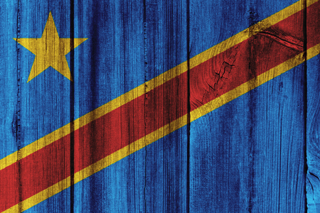 The Democratic Republic of the Congo  flag painted on wooden wall for background.