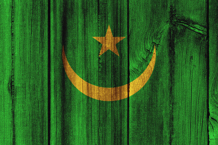 mauritania: Mauritania  flag painted on wooden wall for background.