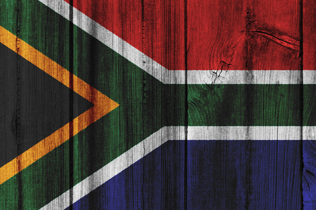 South Africa  flag painted on wooden wall for background.