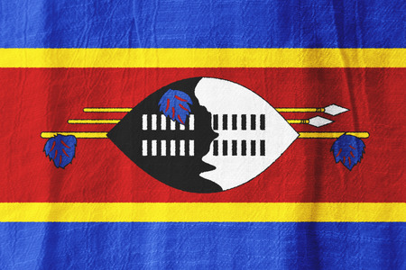 Swaziland national flag from fabric for graphic design.