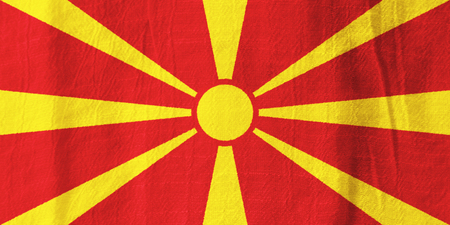 Macedonia national flag from fabric for graphic design. Stock Photo