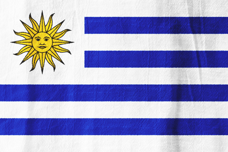 Uruguay national flag from fabric for graphic design.