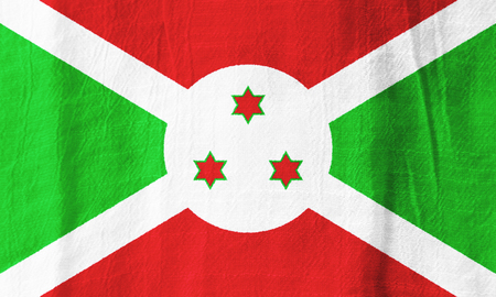 Burundi national flag from fabric for graphic design.