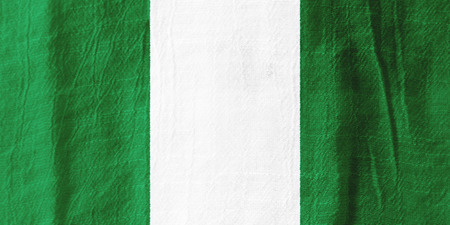 Nigeria national flag from fabric for graphic design. Stok Fotoğraf