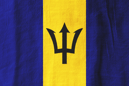 Barbados national flag from fabric for graphic design.